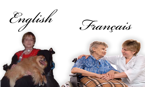Image: two people in a wheelchairs.  The first person has a dog on her lap, the second person is speaking with a nurse.